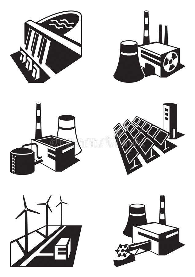 Different power plants vector illustration