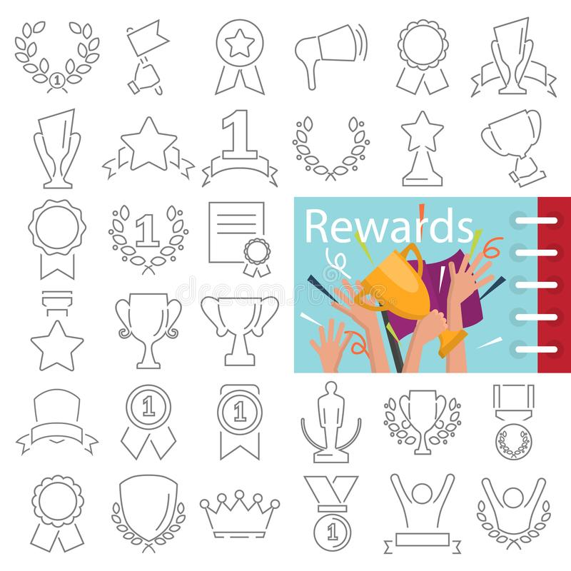 Different prizes and rewards line icons set decorated thematic color flat illustration. For web and mobile stock illustration