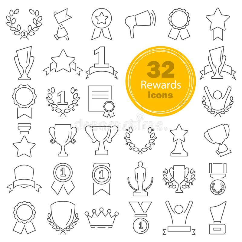 Different prizes and rewards line icons set. For web and mobile stock illustration