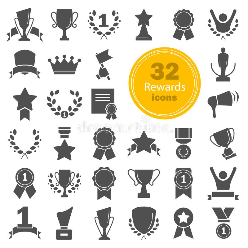 Different prizes and rewards simple icons set. For web and mobile vector illustration