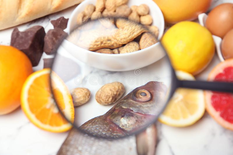 Different products with magnifier focused on fish and peanuts. Food allergy concept. Different products with magnifier focused on fish and peanuts, closeup. Food royalty free stock image