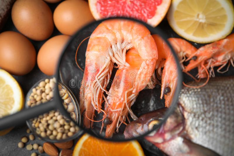 Different products with magnifier focused on shrimps. Food allergy concept. Different products with magnifier focused on shrimps, closeup. Food allergy concept royalty free stock images