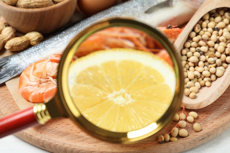 Different products with magnifier  on lemon and shrimps, closeup. Food allergy concept. Different products with magnifier focused on lemon and shrimps, closeup royalty free stock photo