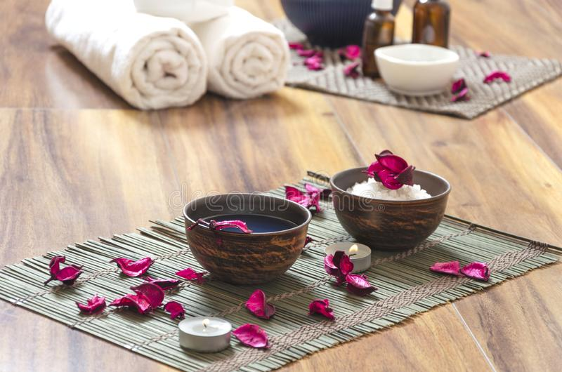 Spa salon, preparation for beauty and relaxation procedures stock image