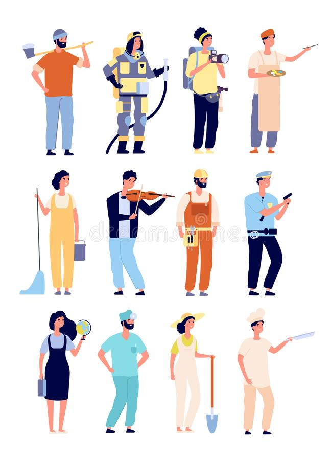 Different professionals. policeman and fireman, cameraman and artist, cleaner and teacher, gardener. People isolated stock illustration