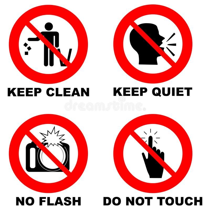 Different prohibition signs in red circle: no flash, do not touch, keep clean, keep quiet stock illustration