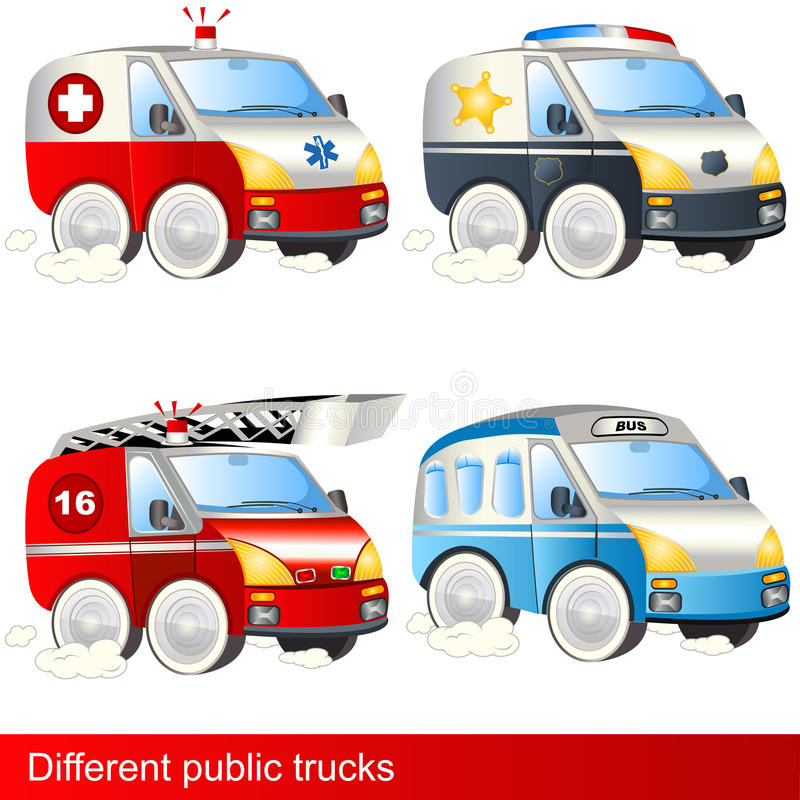 Different public trucks royalty free illustration