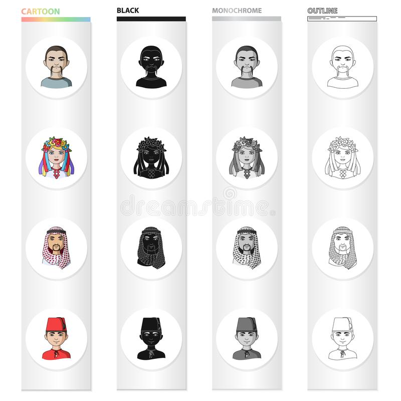 Different race of Mongol, European, Ukrainian, Turk, Arab . The human race set collection icons in cartoon black. Monochrome outline style vector symbol stock royalty free illustration