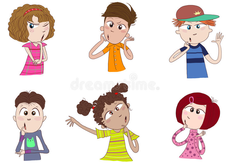 Different races of kids thinking vector illustration