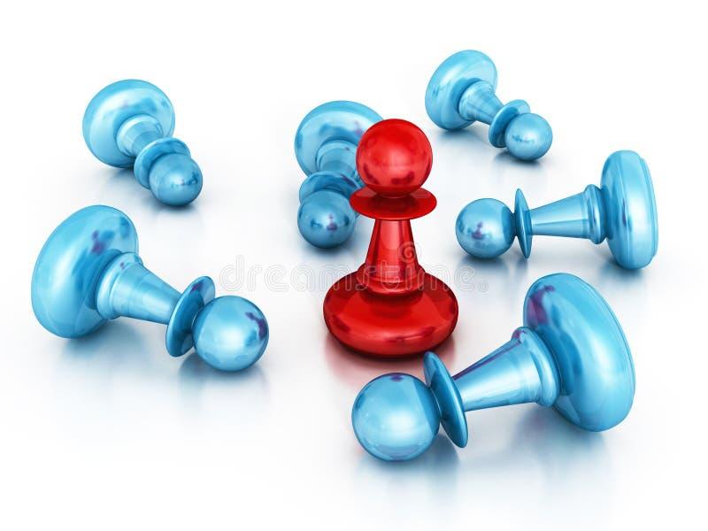 Different Red Leader Winner Pawn. Success Concept. 3d Render Illustration stock image