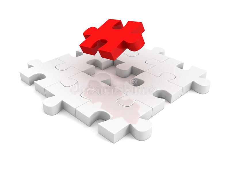Different red piece of jigsaw puzzle structure stock image