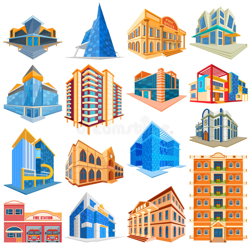 Different Residential and Commercial Building royalty free illustration