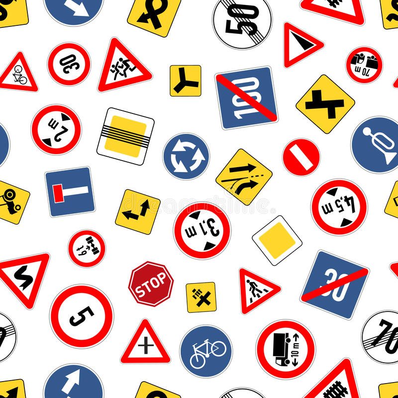 Different road signs isolated on white, seamless pattern stock illustration