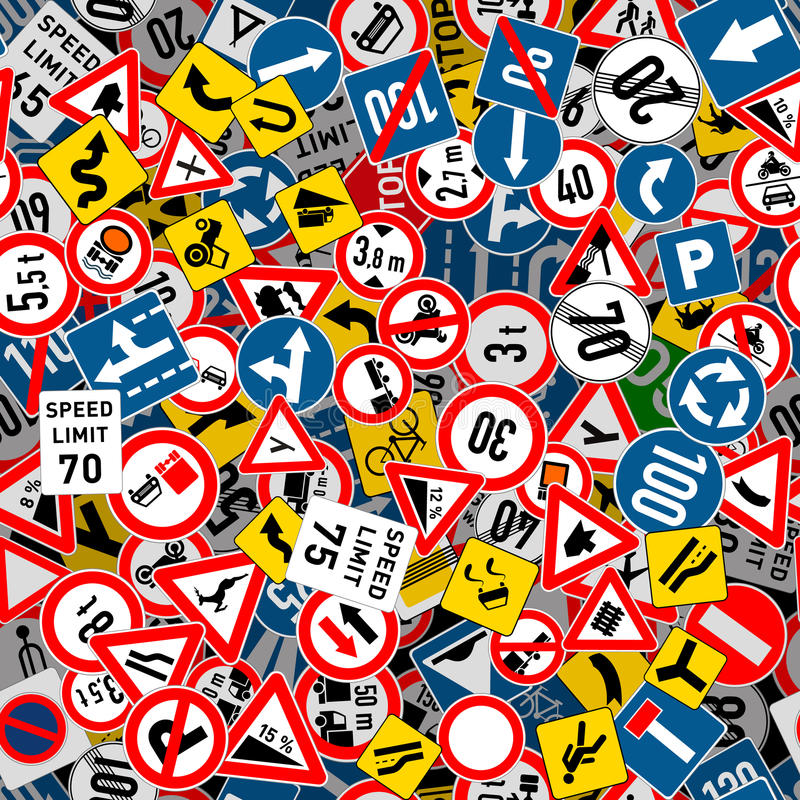 Different road signs seamless pattern vector illustration