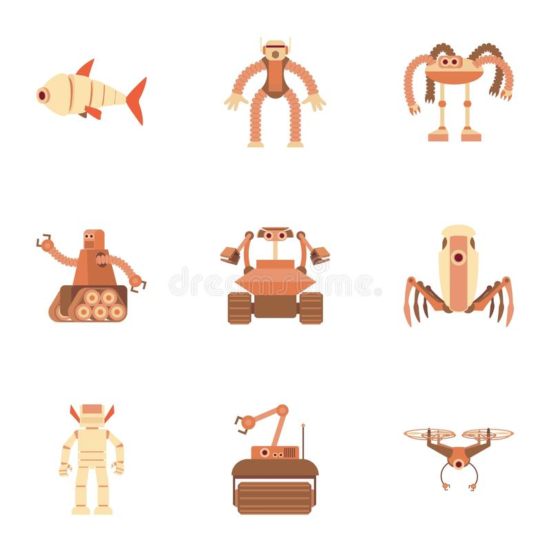 Different robot icons set, cartoon style. Different robot icons set. Cartoon set of 9 different robot vector icons for web isolated on white background royalty free illustration
