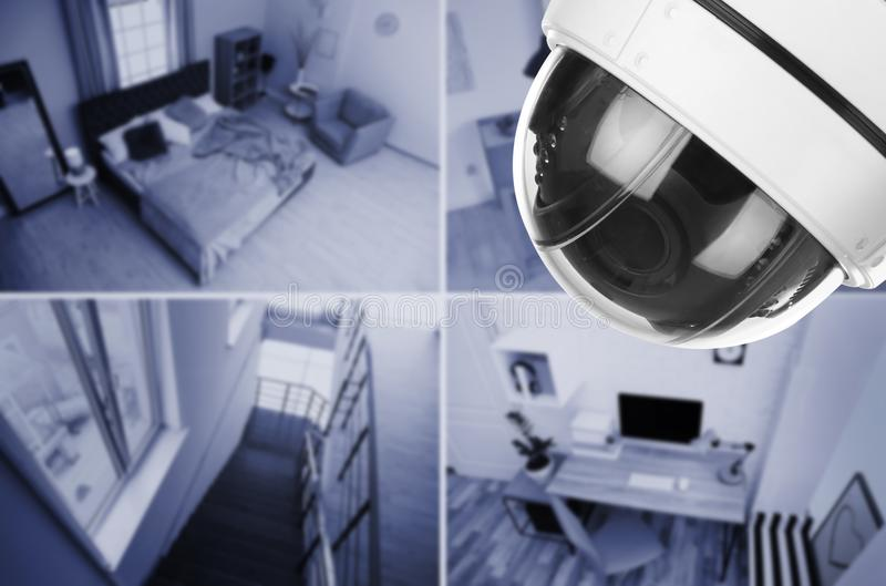 Different rooms under CCTV camera surveillance. Above view royalty free stock photo