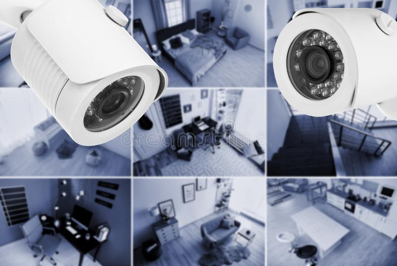 Different rooms under CCTV cameras surveillance. Above view stock photo