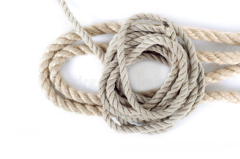 Different ropes isolated on white background stock image