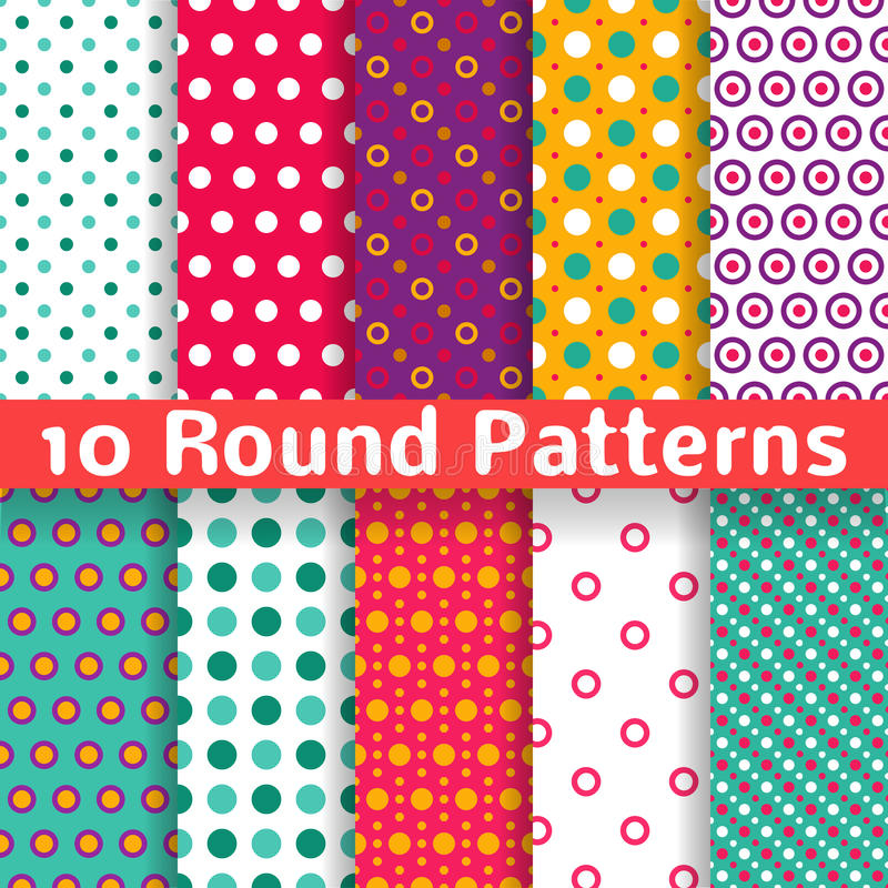 Different round shape vector seamless patterns royalty free illustration