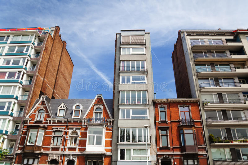 Different row houses. New and old ones, in Liège, Belgium stock images