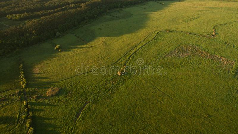 Different rural fields view from above stock photo