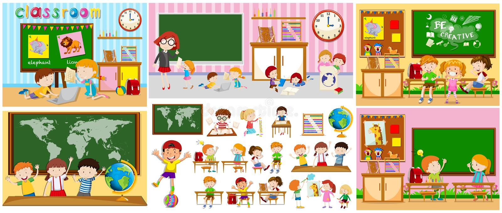 Different scenes of classrooms with kids royalty free illustration