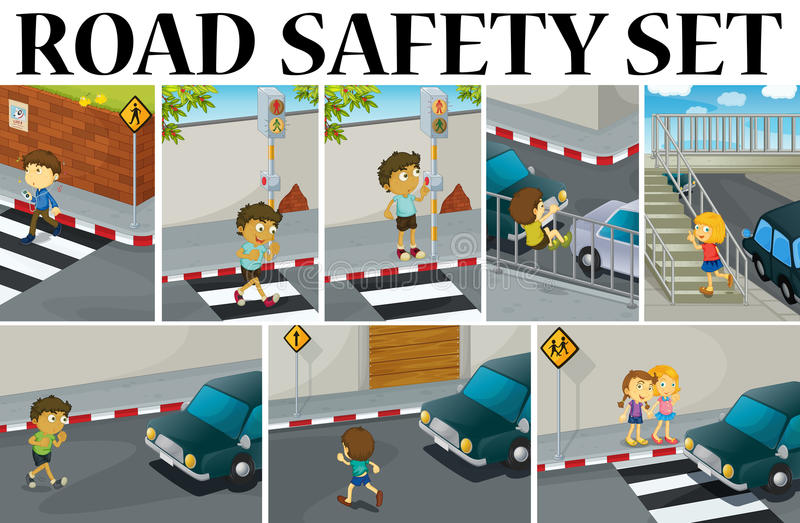 Different scenes with road safety royalty free illustration