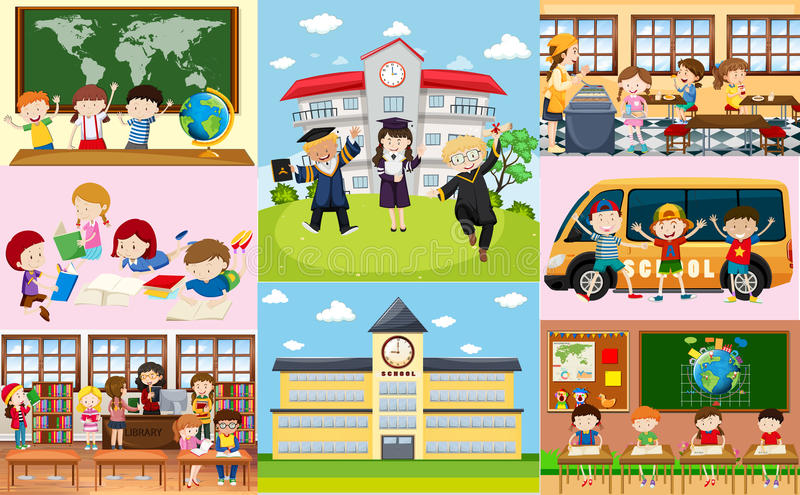 Different scenes at school with students stock illustration