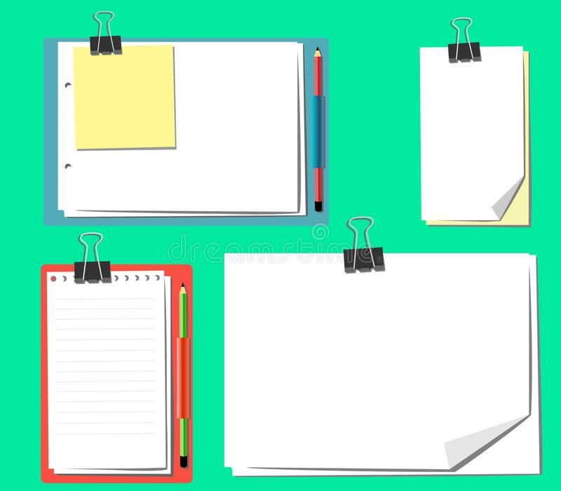 A different set of sheets on a clipboard with a pencil and without vector illustration