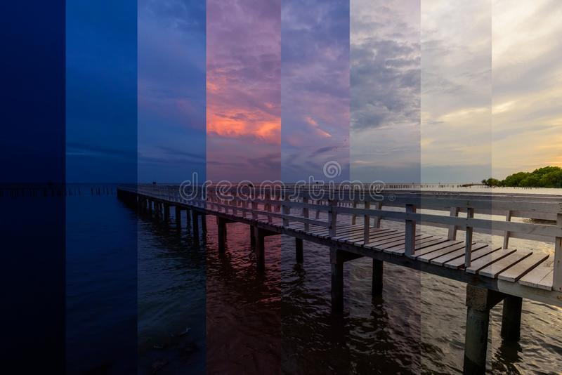 Different shade color of sunset at the bridge stock photos
