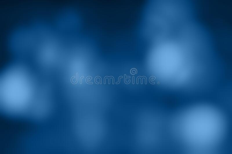 Different shades of classic blue blurry lights. Dark blurred background in trend colors.  stock photography