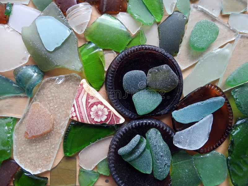 Different shape an colors sea glass, Lithuania stock images