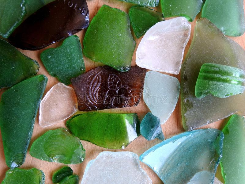 Colorful sea glass pieces royalty free stock photos
