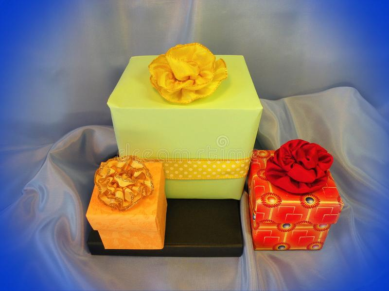 Colorful gift boxes and ribbons royalty free stock photography