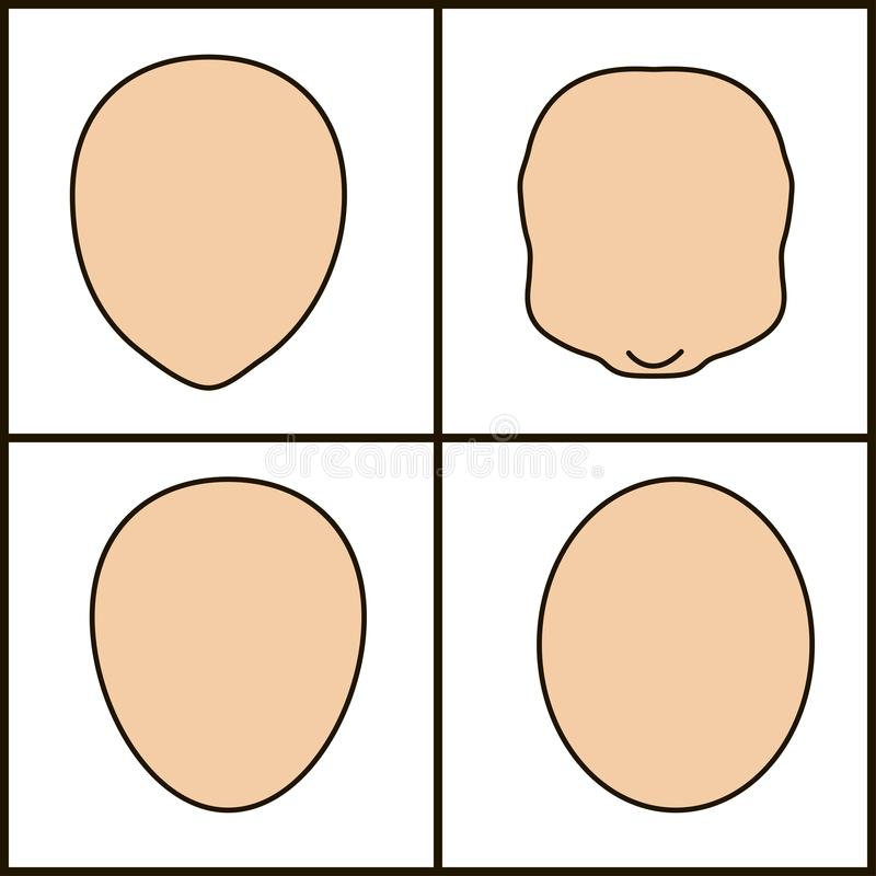Different shape of the face, vector icon. black stroke stock illustration