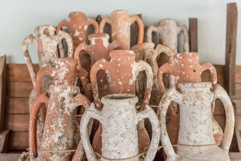 Different shape and size of amphoras royalty free stock image