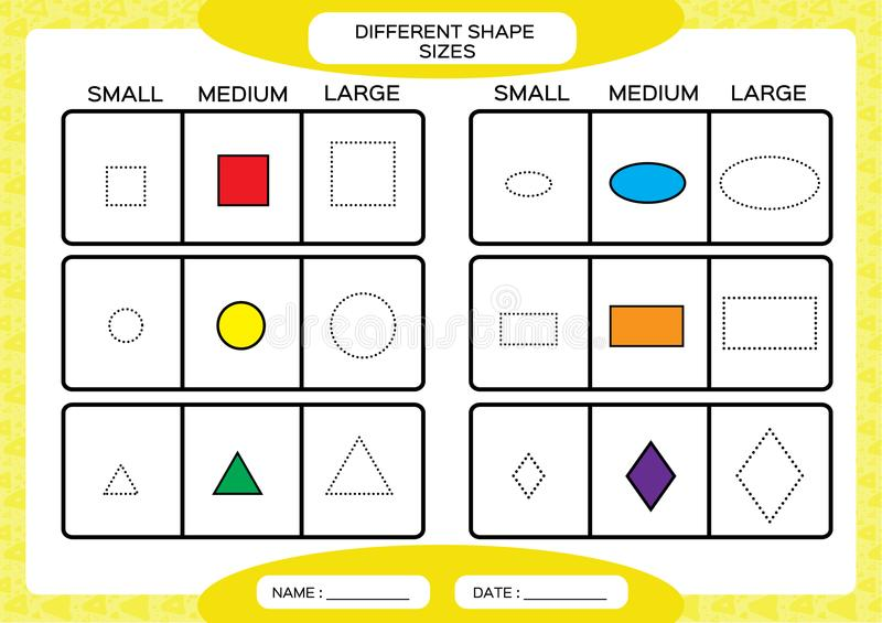 Trace The Shapes. Kids Education. Preschool Worksheet