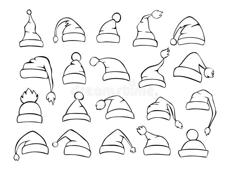 Different shapes of christmas santa hats set in black. Color stock illustration