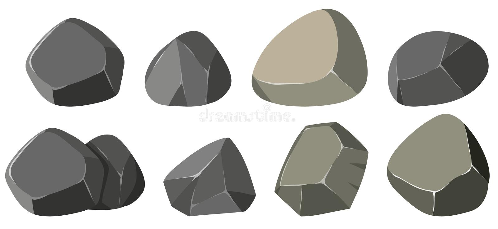 Different shapes of rocks stock illustration