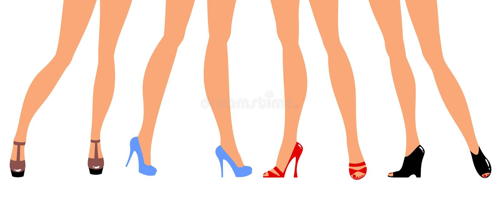 Download Different shoes. stock vector. Image of fashionable, retro - 18999684