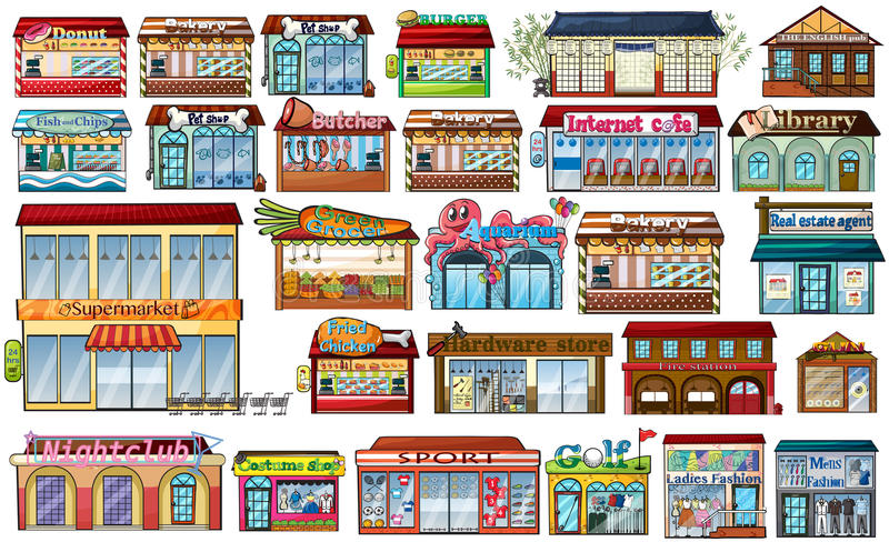 Different shops and buildings vector illustration
