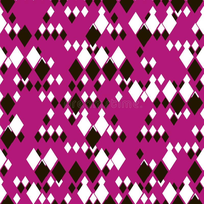 Different size black and white rhombuses on bright pink magenta background. vector illustration