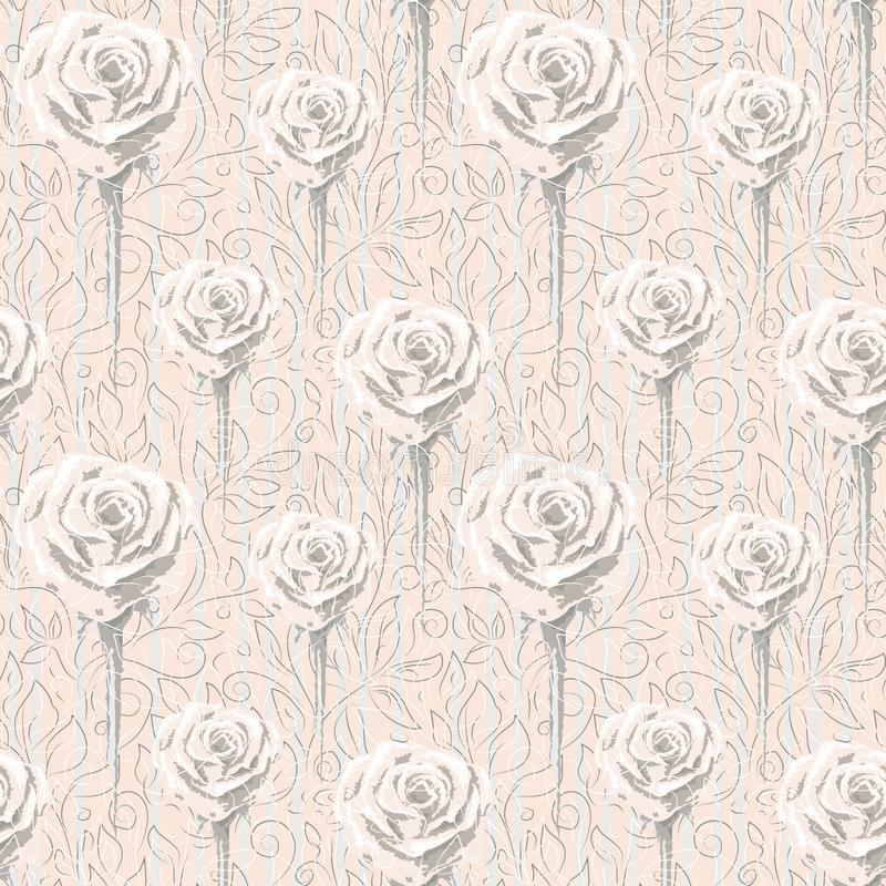 Different size roses and contours of abstract flowers and leaves. royalty free illustration