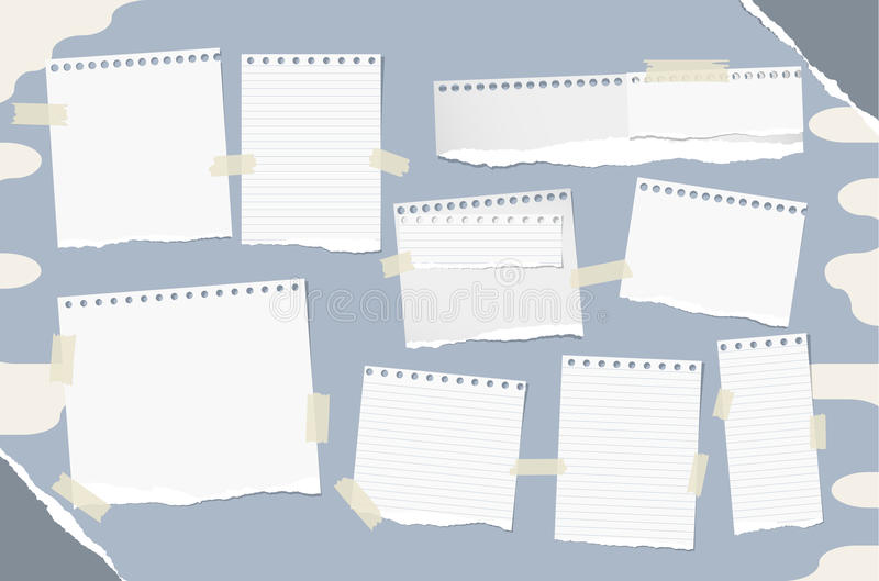 Different size stacked white note, notebook, copybook sheets stuck with sticky tape on blue abstract background and grey. Ripped paper in corners vector illustration