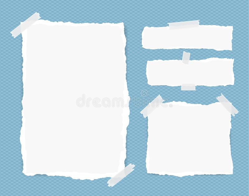 Different size white note, notebook, copybook sheets, strips stuck with sticky tape on squared blue background.  stock illustration