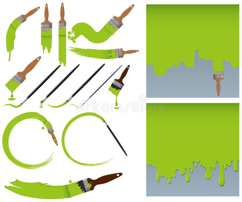 Different sizes of paintbrush and green paints royalty free illustration