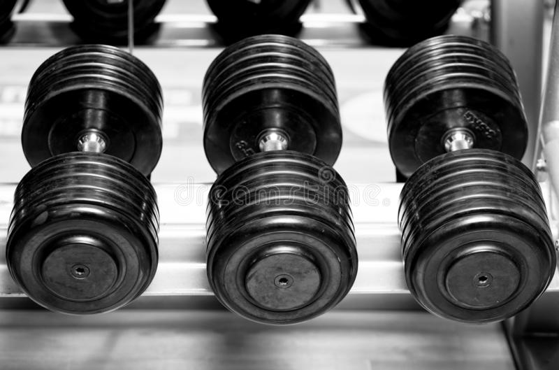 Different sizes and weights of dumbbell free weights at a gym in black and white. stock image