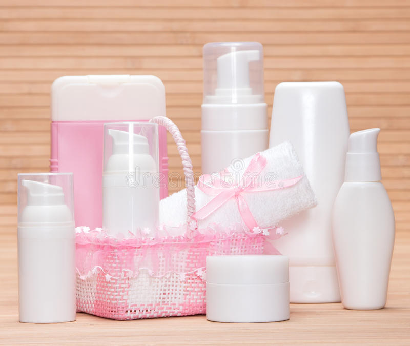 Different skincare products stock photos