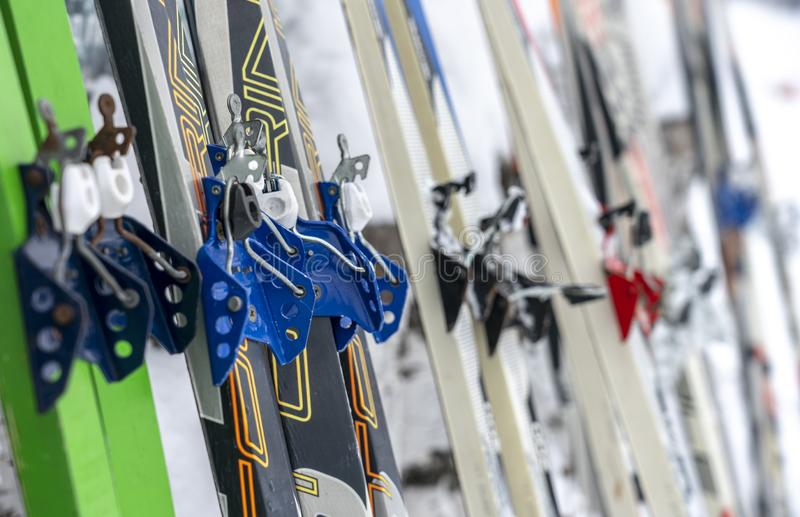 Different skis with bindings for ski boots are on the snow close-up royalty free stock image