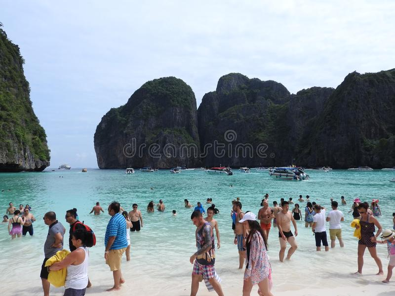 Picturesque views of the sea and the beach in Phuket, Thailand on a clear day royalty free stock photography